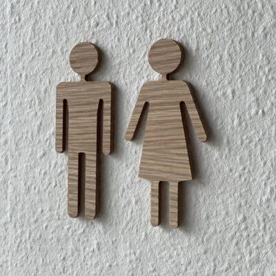 herre dame toiletskilt egetræ