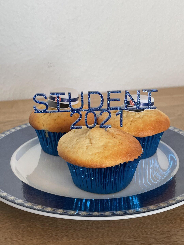 cupcaketopper blå glimmer