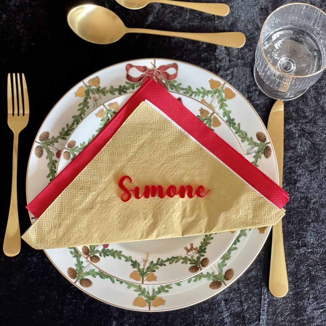 rødt bordkort til jul