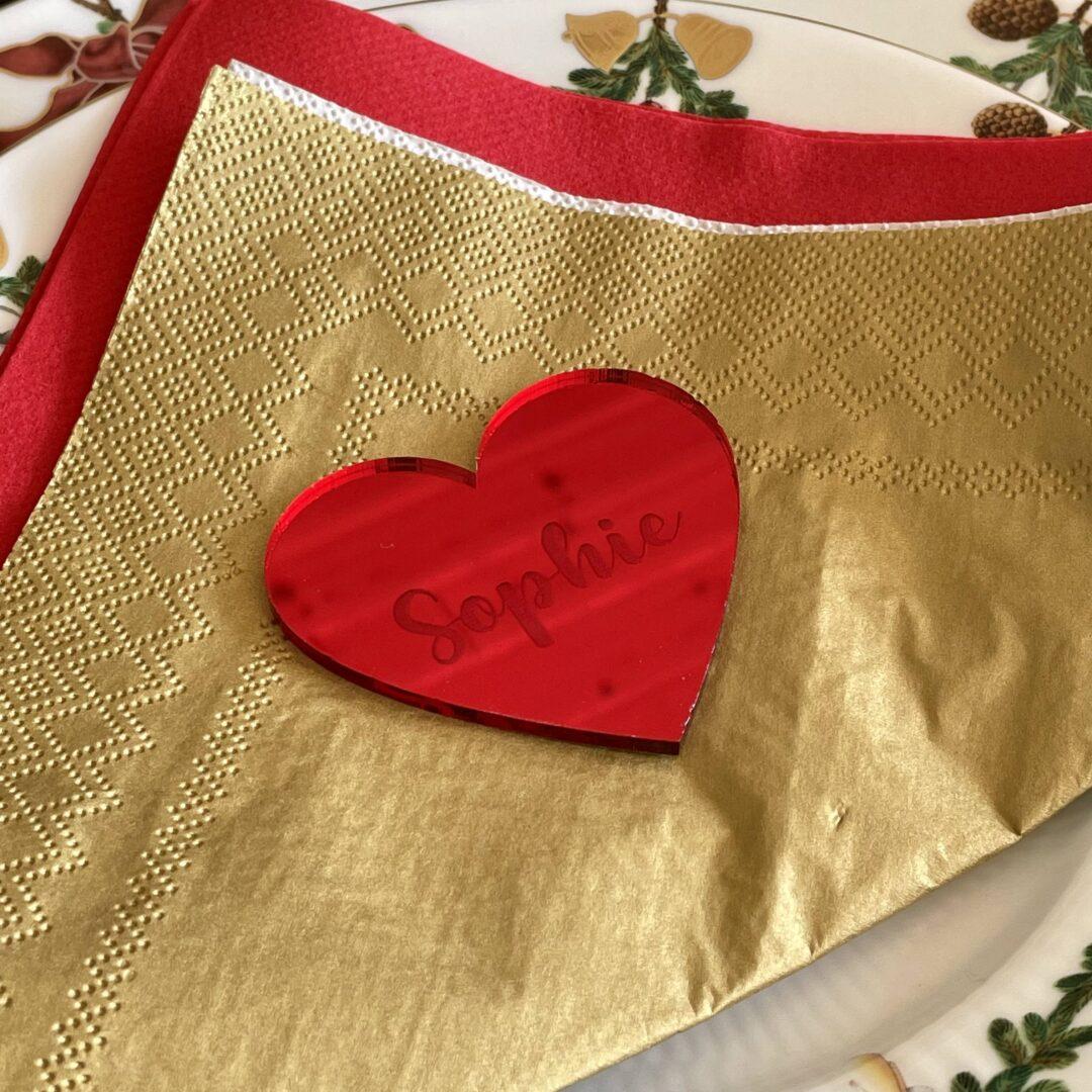 Bordkort til jul - hjerteformet